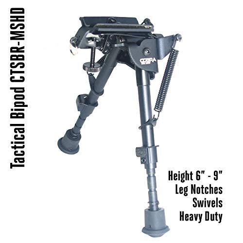 COBRA Tactical Solutions | Taktisches faltbares Zweibein/Bipod höhenverstellbar | Schwenkbar | 15 - 23 cm | Für Airsoft Jagd Varmint Luftgewehr | wie Harris HBRMS -