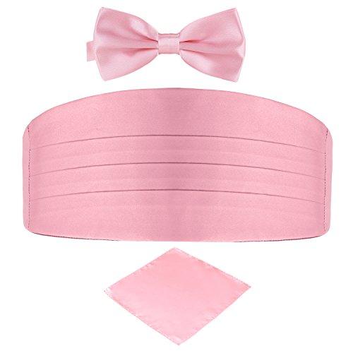 DonDon Set de tres piezas Caballero Faja de esmoquin Pajarita Pañuelo de bolsillo Color a juego Espléndido para ceremonias y ocasiones especiales - Rosa