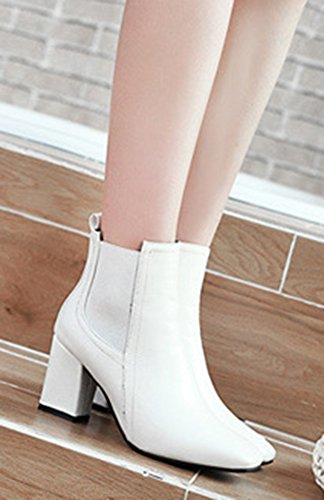 a207bd00588 ... Femme Low Talon Bloc Carré Blanc Bout Bottines Boots Moyen Aisun Mode  pOwRfxx ...