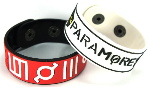 30Seconds to Mars Paramore 2pcs nuevo. Pulsera Wrist Band 2x 2A8
