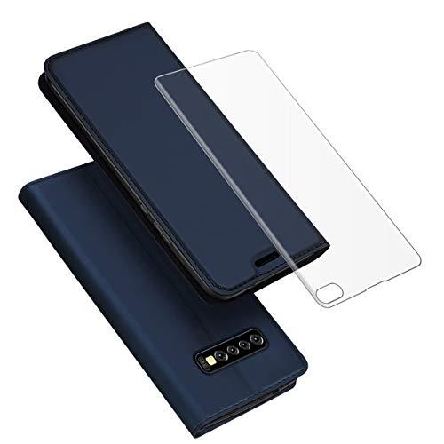 Fusutonus Galaxy S10 Plus Hülle Leder, Tasche Leder Flip Case, Brieftasche Etui Schutzhülle Handyhülle für S10 Plus,As Shown