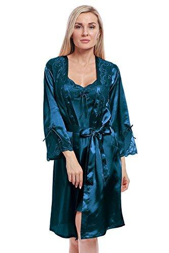 BellisMira Damen Kimono Morgenmantel Satin Bademantel Negligee Lace Nachtwäsche Seiden Robe Pajamas Schlafanzug Sleepwear (Nur Robe)