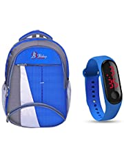 blubags Super 36 Liters Casual Backpack with raincover for Unisex Blue and led Watch