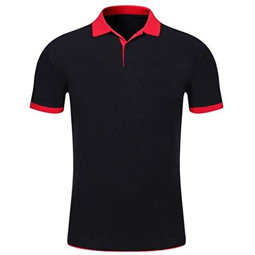 Malloom Polo T-Shirt Button Été Homme Manches Courtes Comfy Solid Blouse Slim To