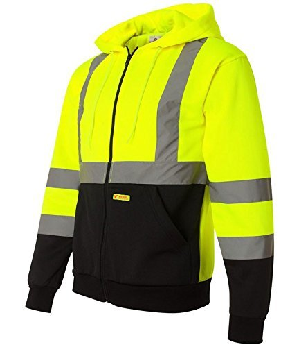 New York Hi-Viz Workwear H9012 Men's ANSI Class 3 High Visibility Class 3 Sweatshirt, Full Zip Hooded, Knit Lining, Black Bottom (Medium) by New York Hi-Viz Workwear -