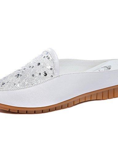 ShangYi gyht Scarpe Donna-Mocassini-Ufficio e lavoro / Formale / Casual-Comoda-Basso-Finta pelle-Bianco / Argento White