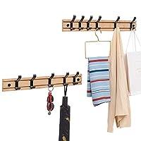 JHKGY Hook Coat And Hat Rack | Wall Mount | Decorative Home Storage | Entryway Foyer Hallway Bathroom Bedroom Rail |Can Move Driftwood/Nickel Hook