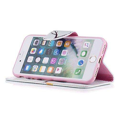 Trumpshop Smartphone Case Coque Housse Etui de Protection pour Apple iPhone 7 (4.7-Pouce) + Don't Touch My Phone (Ourson) + Mode Portefeuille PU Cuir Avec Fonction Support Anti-Chocs Hibou Mignonne