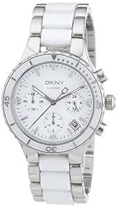 DKNY - NY8502 - Montre Femme - Quartz Analogique - Cadran Blanc - Bracelet Acier/Céramique Bicolore