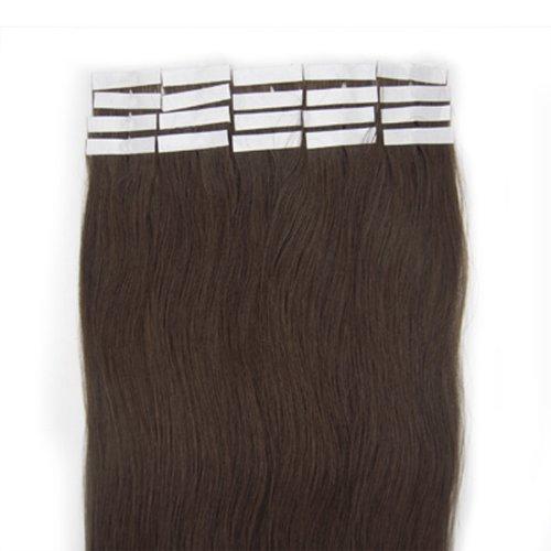 Best Qualité 5 A * * * * * * * * 50,8 cm Marron foncé 02 Allemand Bandes 100% Premier Remy extensions de cheveux humains vendeur Britannique