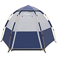 Toogh 3-4 Person Camping Tent Backpacking Tents Hexagon Waterproof Dome Automatic Pop-Up Outdoor Sports Tent Camping Sun Shelters Provide Top Rainfly, Advanced Venting Design