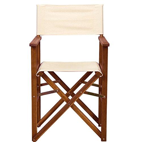 BUTLERS HOLLYWOOD Regiestuhl natur mit bestickbarem Bezug - Sessel - klassisch - Baumwolle - Akazienholz - zusammenklappbar - 53 x 54 x 89 cm