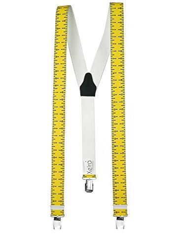 Xeira  Maßband Hosenträger Herren und Damen mit 3 EXTRA STARKEN XL Clips und Echt Leder Rückenteil - Made in Germany (Maßband Hosenträger)