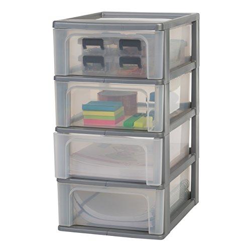 IRIS, Schubladencontainer / Schubladenschrank 'Organizer Chest', OCH-2004, Kunststoff, silber / transparent, 35,5 x 26 x 49 cm (Klare Kunststoff-organizer Box)