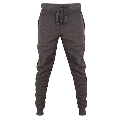 Star Fashion Herren Skinny Slim Fit Hosen Trainingsanzug Jogginghose Fleece Gym Sweat Hose (X-Large, Holzkohle)