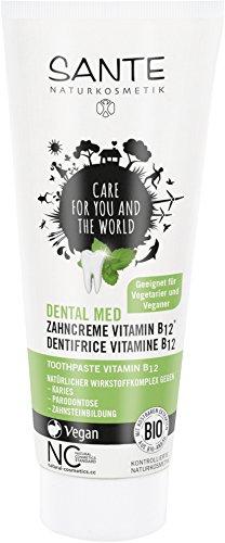 SANTE Naturkosmetik Dental med Zahncreme Vitamin B12, Schützt Zähne und Zahnfleisch, Mit Fluorid, Vegan, Bio-Extrakte, 75 ml (Pflegendes Vitamin)