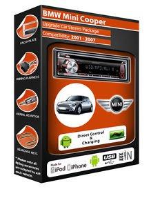 Clarion Autoradio für BMW Mini, mit CD-Player, USB-Anschluss, Wiedergabe von