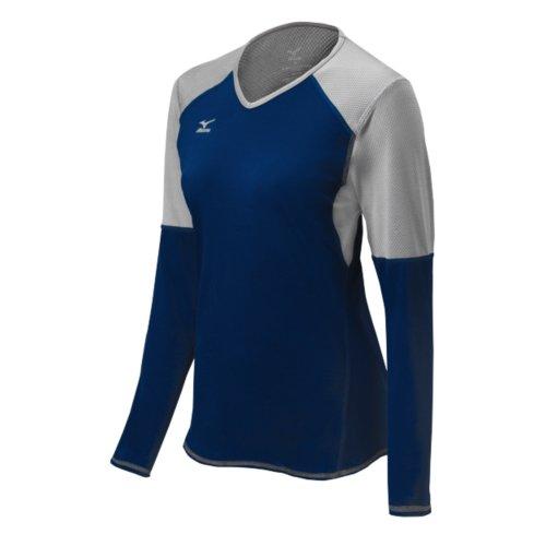 Mizuno Damen Techno VI Long Sleeve Volleyball Jersey, Damen, Techno VI, Navy/Silber (Mizuno Trikot Volleyball)