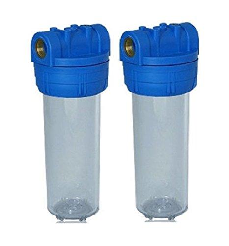 """Planet-Aqua 2 x Filtergehäuse 10 Zoll mit 1\"""" Wasseranschluß/Innengewinde als Wasser Vorfilter Gehäuse für Wasserfilter Anlage, Hauswasserwerk Brunnenwasser Pool Filter Regenwasser Pumpe"""