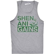 Crazy Dog TShirts - Mens Shenani-Gains Funny Lifting Workout Irish Sleeveless Fitness Tank Top - damen -