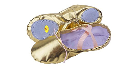 KRY  Leather Ballet Shoes,  Mädchen Unisex Erwachsene Damen Unisex Kinder Ballett Smooth Surface Gold