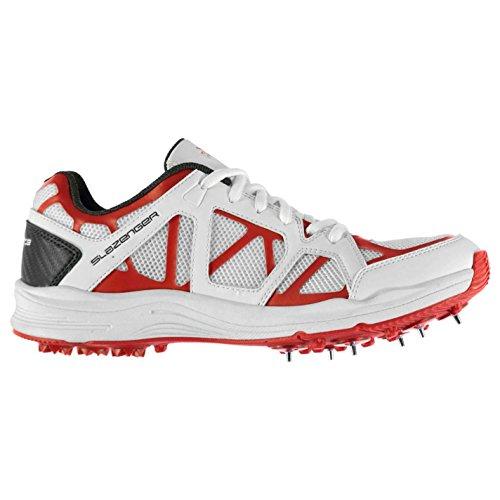Slazenger Adv Enfants Chaussures Cricket Crampons Baskets Sneakers Sport Blanc/Rouge