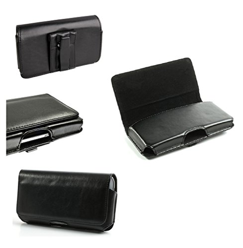 DFV mobile - Belt Cover Premium Executive Synthetic Leather Horizontal Design and Clip Metal for => LENOVO A630 > Black
