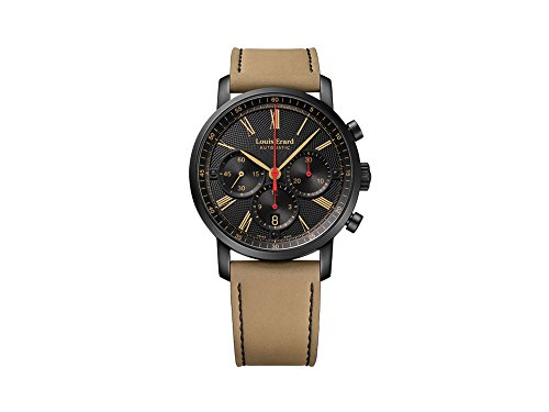 Montre Automatique Louis Erard Excellence Chrono Date, PVD, Noir, Nubuck