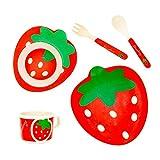 Luxcathy 100% natürliche Bambus und Mais Stärke Kinder Geschirr Set - Teller, Tasse, Schüssel, Löffel und Gabel mit Erdbeer-Muster, Weichmacher frei, biologisch abbaubar