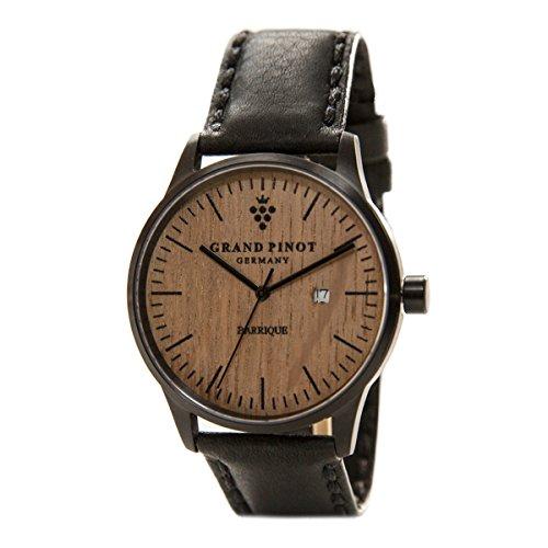 Grand Pinot Uhr Herren Character (42 mm) Schwarz/Barriquefass mit schwarzem Lederarmband
