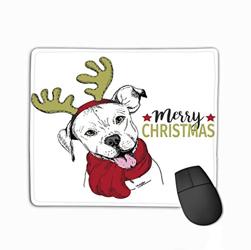 Custom Mouse Pad,11.81 X 9.84 Inch Unique Printed Mouse Mat Design Portrait Christmas Dog Pit Bull Dog Wearing Deer Horn Rim Scarf Christmas Poster Decoration Flyer Greeting Card Pink Rim