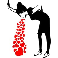 "Banksy Love Sick - Iconic Graffiti Wall Sticker (Large: 60cm x 80cm / 24"" x 32"")"