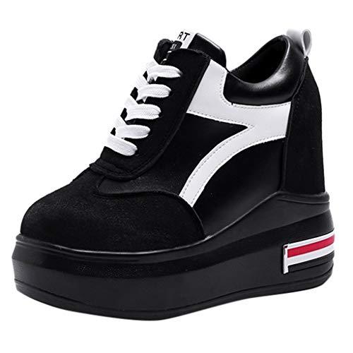 Dragon868 Sneakers Donna Zeppa Sneakers in Velluto Zeppa Interna Sneakers Donna Alte 11cm Strisce Sportive Ginnastica Primaverili
