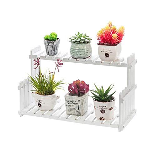 GAOJUNMEI Kreative Massivholz Blumenständer, einfache Pflanze Rahmen Dekoration Balkon Wohnzimmer Geeignet für Innen-und Außenbereich 2 Farbe 3 Größe (Color : White, Size : 40cm) - Holz-seitengitter