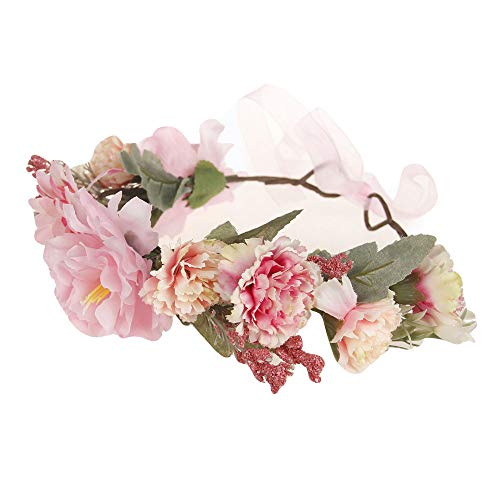 Lazzboy 2019 Garland Frauen Handgefertigte Blumen Haarband Krone Hochzeit Kranz Braut Kopfschmuck(M,Rosa)