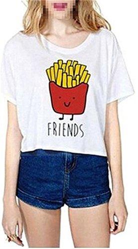 Fourling T-shirt Cartoon summer Stampa di patate fritte modello a maniche corte-Shirt T-shirt donne della maglia Camicia a maniche corte simpatico migliori Camicetta (Bianca) -M(EU 34) - per One