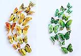 WandSticker4U- 24er hochwertige 3D Schmetterlinge mit Magnet und Doppelflügeln | Wanddeko Aufkleber Butterfly Hochzeit basteln Garten Deko für Baby- Kinderzimmer Wohnzimmer Schlafzimmer (Gelb+Grün)