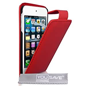 Coque iPod Touch 5G Etui Rouge PU Cuir Clapet Housse