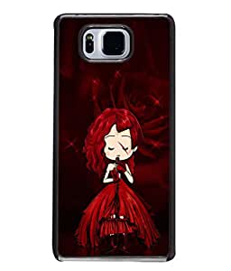 PrintVisa Designer Back Case Cover for Samsung Galaxy Alpha :: Samsung Galaxy Alpha S801 :: Samsung Galaxy Alpha G850F G850T G850M G850Fq G850Y G850A G850W G8508S :: Samsung Galaxy Alfa (Girl Singing Red Gown Rose Music )