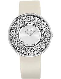 SO & CO New York 5223.1 - Reloj de pulsera Cuarzo Mujer correa deCuero Blanco
