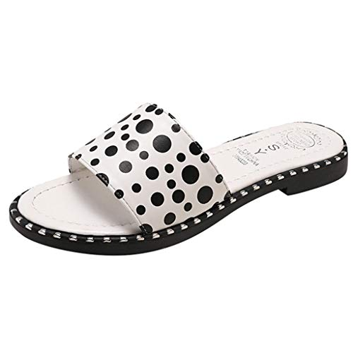 Sandalias Mujer Verano 2019 Zapatillas de Punta Abierta Playa Planas Estilo Informal Antideslizantes Interiores Las Nuevas la Palabra Dotan Casual Lunares Chanclas(Blanco 36)
