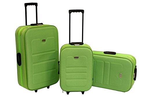 3-tlg Koffer Set EVA grün Trolly Polyester Reisekoffer Troll