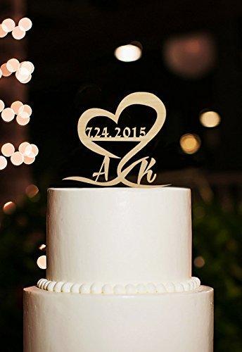 personalisierbar Hochzeit Datum und Initiale Rustikale Hochzeit Tortenaufsatz Herz Tortenaufsatz