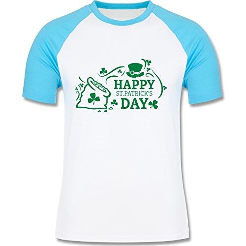 Shirtracer Festival - Happy St. Patricks Day Badge - Herren Baseball Shirt  Weiß/Türkis
