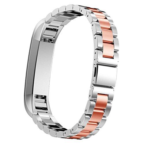 Preisvergleich Produktbild Sansee Edelstahl-Uhrenarmband -Handgelenk-Bügel für Fitbit Alta HR Smart Watch (Drei Perlen Edelstahlband ) (I)