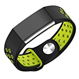 Shopizone® Soft Silicone Adjustable Fashion Sport Strap Replacement Fitness Accessory Wristband With Hole For Fitbit Charge 2 (Black Yellow)