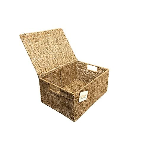 41JQEePNhgL. SS500  - woodluv Seagrass Storage Basket Box With Lid Xlarge