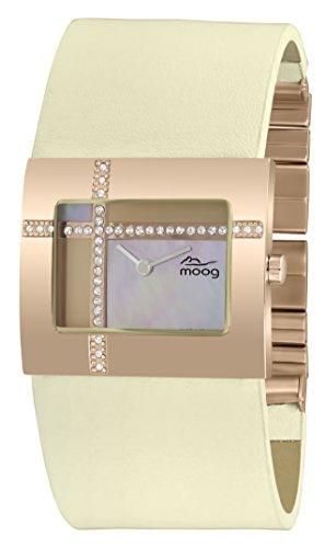 Moog Paris Mondrian Montre Femme avec Cadran Nacre Or Rose, Eléments Swarovski, Bracelet - en Cuir Véritable - M44372F-008