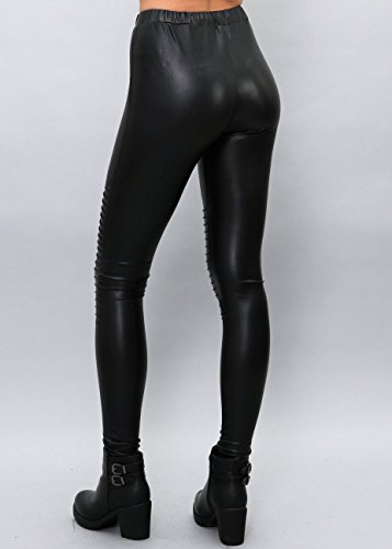 Shiny Leggings für Damen in Schwarz by Sassyclassy | Skinny-Leggings in Leder-Optik - 6