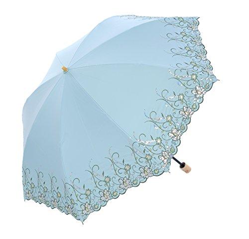 Honeystore Regenschirm, Taschenschirm Blumen Sonnnenschirm mit 85 cm Durchmesser Grün